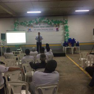 Eng. Roberto Diniz palestrando sobre Trabalho em Altura na Construção Civil