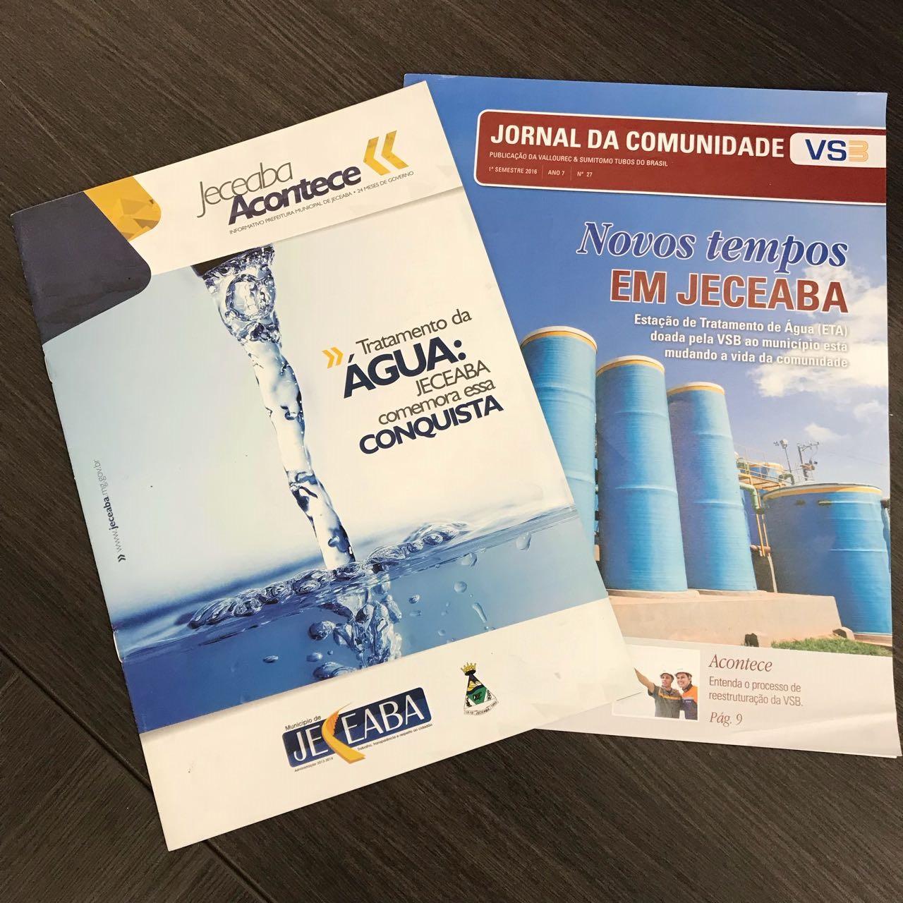 Revistas citando os projetos do Robson em Tratamento de Água
